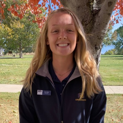 ERIN KELLY  Year in school: Senior  Major: Business Administration  Hometown: Meridian, Idaho  Advice to give new students: Get involved! Join a club, go to events, do something to help you meet people and make connections.