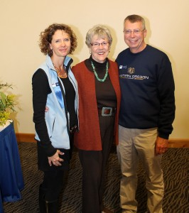 EOU Alumni Association President Holly Kerfoot (left) with EOU Distinguished Alumna Josie Heath (middle) and EOU Alumni Association Past President Mike Daugherty (right) at Homecoming 2012.