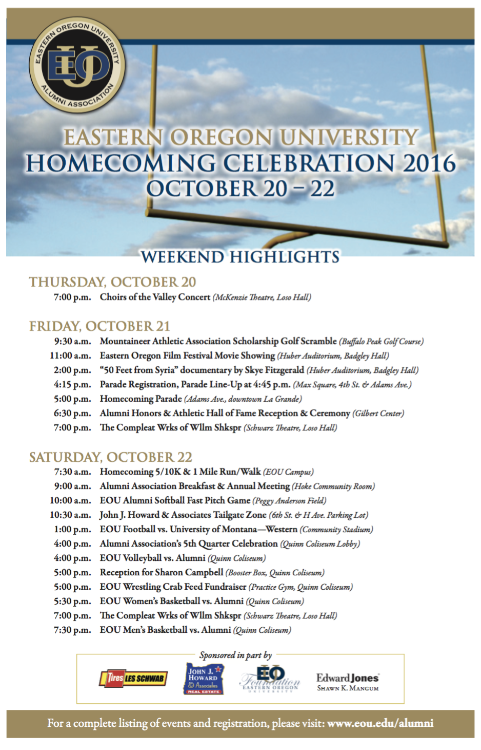 EOU Homecoming 2016 Schedule