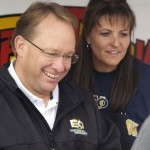 President Bob Davies visits with tailgaters