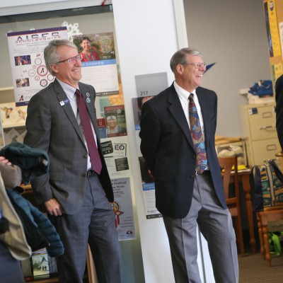 Trustees George Mendoza, Bill Johnson, Jer Pratton and Brad Stephens tour the Center for Student Involvement at EOU.