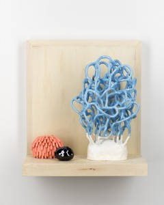 "Linda Lopez ""Doing Nothing"" ceramic and wood, 2014"