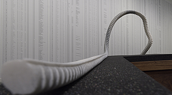 Detail from Ai Weiwei: Fault Line. In the foreground is a marble replica of twisted iron rebar pulled from on of the collapsed schools (Rebar and Case, 2014). In the background is the wall covered with the list of 5,196 names. Photograph by Ian Boyden.