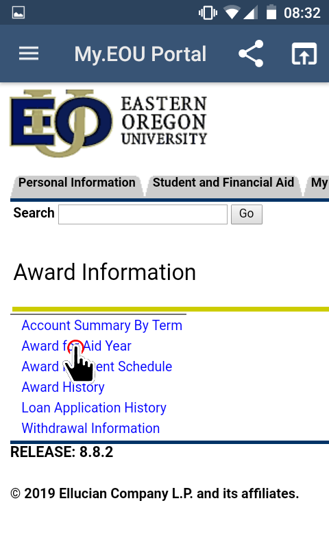 My.EOU Portal - Award for Aid Year