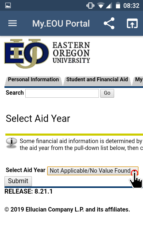 My.EOU Portal - Select Aid Year