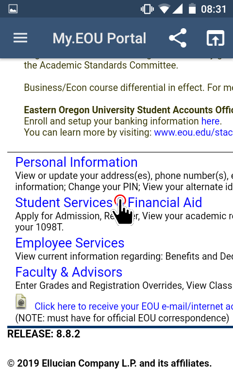 My.EOU Portal - Student Services and Financial Aid