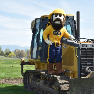 Monty on a tractor at the Stadium-Track construction site