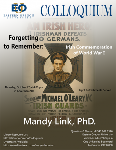 Dr. Mandy Link to give research presentation at EOU Colloquium on Oct. 27