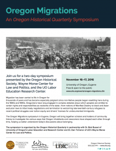 Dr. Dearinger to present ongoing research at Oregon Migrations Symposium at University of Oregon http://www.ohs.org/events/oregon-migrations.cfm