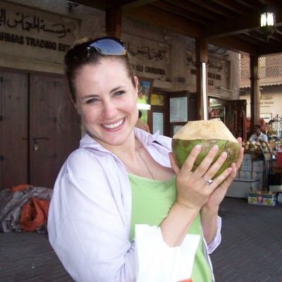 Thomas enjoying fresh coconut in Deira souk in Dubai, United Arab Emirates in 2008.