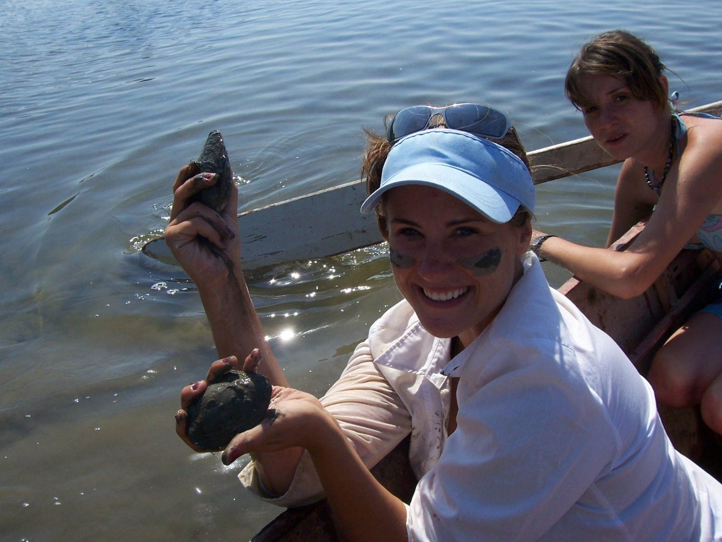 Practicing environmental sampling of freshwater mussels in the Danube River in the Iron Gates region on the Romanian-Serbian border in 2008
