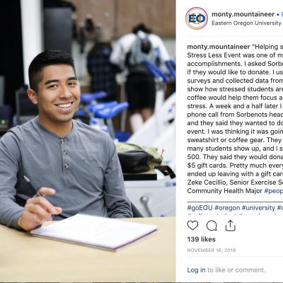 """Chavez created this and other """"People of EOU"""" posts throughout the year to highlight student life on campus."""