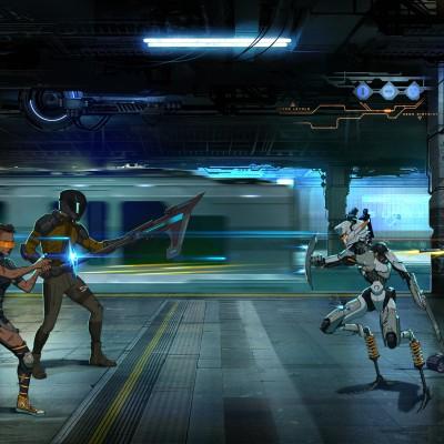 A subway scene where rebels fight off cyborgs