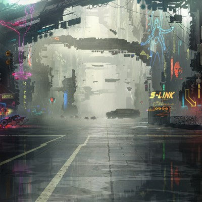 A city scene in Neon District