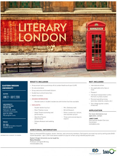 Link to PDF Eastern Oregon University Literacy London