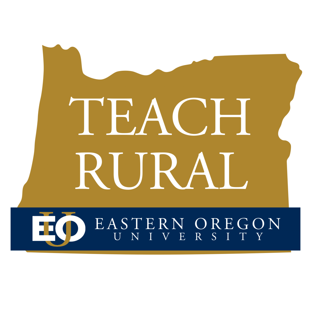 Teach Rural Oregon Logo, State of Oregon with 'Teach Rural' text in white