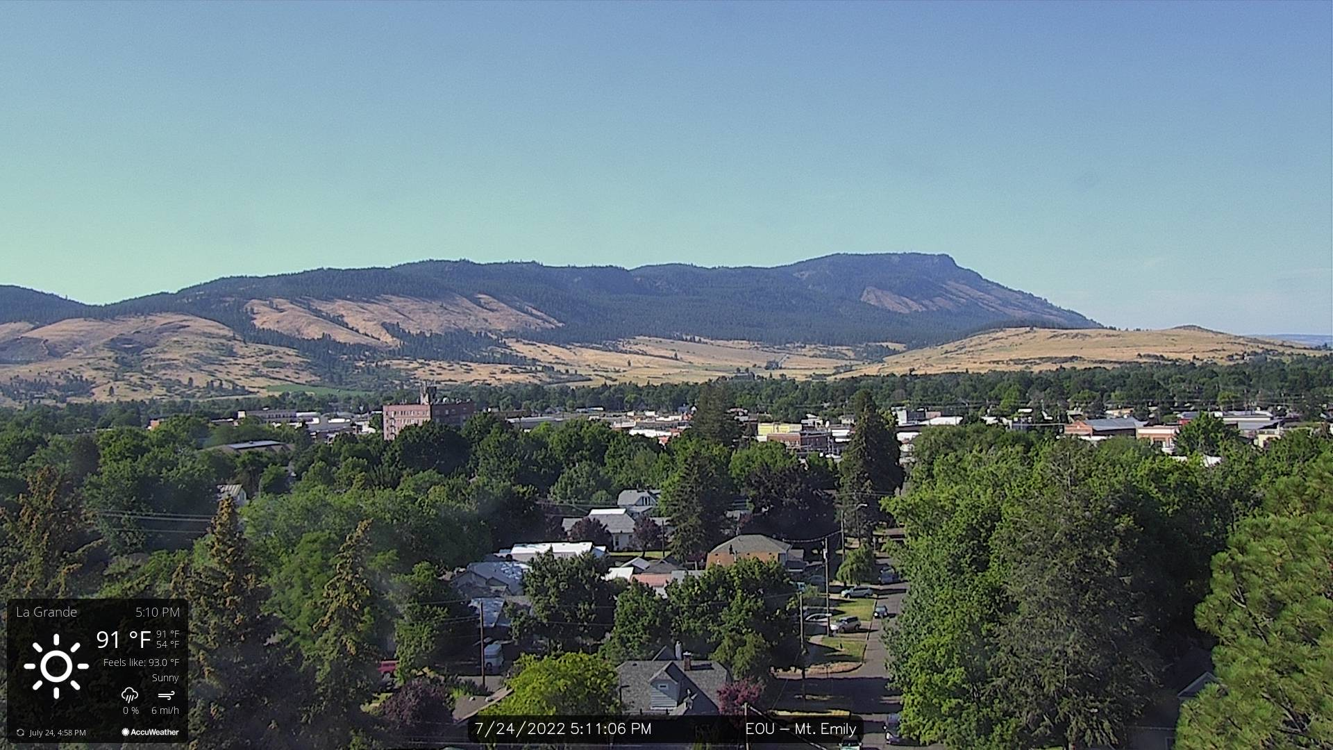 La Grande Mount Emily Webcam - La Grande, OR