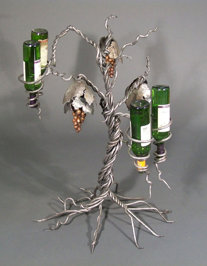 "Matt Orthmann,""Wine Rack #3,"" steel and aluminum, 3' x 2.5' x 2.5' (2012)."
