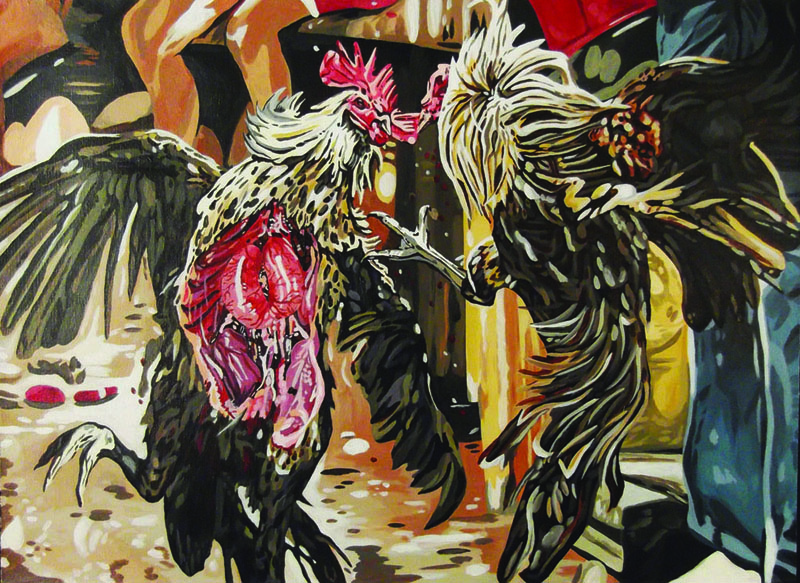 "Amanda Yates, ""Cockfight 2 Spectator's Sport"", acrylic paint on canvas, 2 X 3 ft. (2012)."