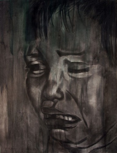 "Jennifer Brotherton, ""Untitled,"" charcoal and watercolor, 61'' x 47'' (2013.)"