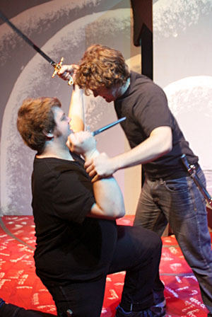 Caleb Hulsey, left, as Clataldo and Joshua Cornwell as Segismundo.