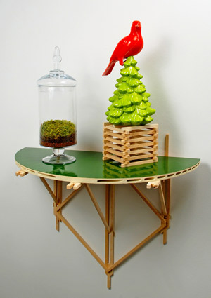 """Chad Curtis, """"Dis•location,"""" glazed ceramic, earth, wood, moss and glass (2012)."""