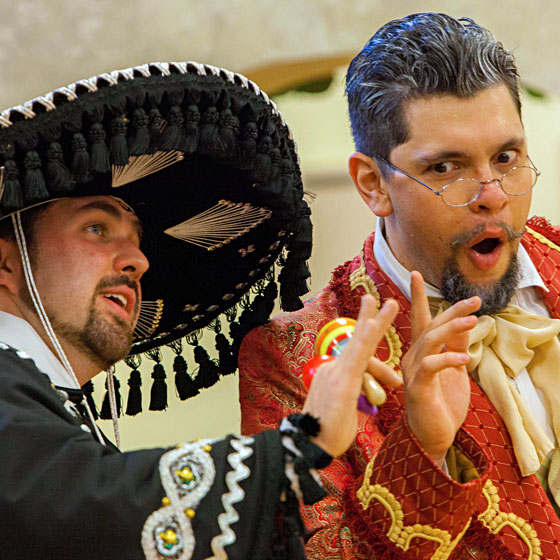 """Image (c) Studio McDermott / Matt Chittick, left, and BrandonMorales are among the Portland Opera To Go cast members presenting a new bilingual version of """"The Barber of Seville"""" for Eastern Promise students."""