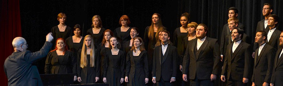 Photo by Dillon Starr / Chamber Choir, Women's and Men's choirs will share the stage Thursday at 7:30 p.m. in McKenzie Theatre in Loso Hall.