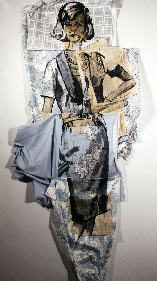 """Genevieve Gaudreau's """"Simplicity 9806,"""" serigraphy and mixed media, 40″ x 108″ (2015)."""
