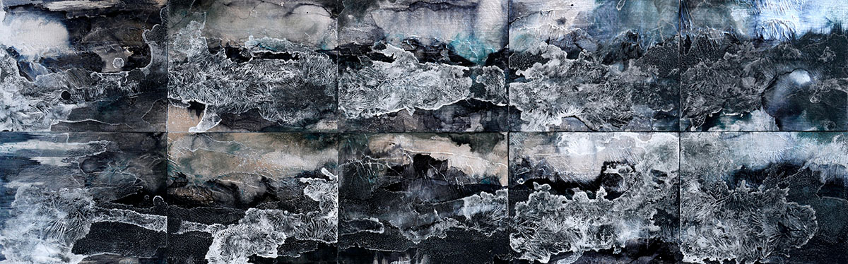 "Nika Blasser created the individual works in her ""Blue Mountain Series"" using silver leaf, ink, acrylic and salt on 8"" X 10"" panels."