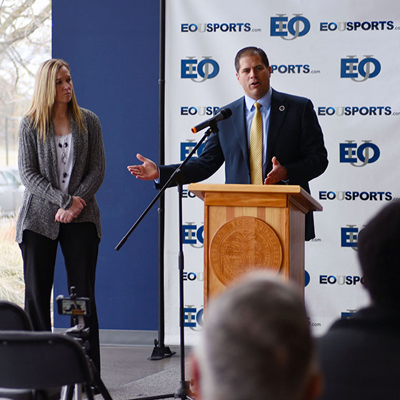 Photo by Laura Hancock / Athletic Director Anji Weissenfluh and President Tom Insko answer questions during a press conference at EOU Monday announcing the university's addition of women's wrestling and reinstatement of men's wrestling beginning this fall.