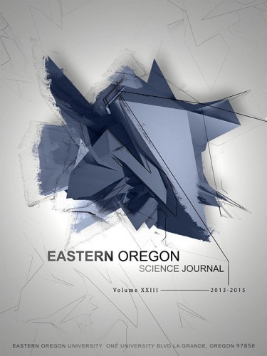 """The cover of the Eastern Oregon Science Journal, Volume XXIII, features an abstract image titled """"Blueprint"""" by media arts major Katie Arnzen."""