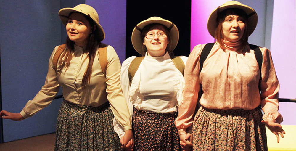 """Theatre students from left Danielle DeVall, Victoria Ingram and McKayla Nitz play explorers Alexandra Cafuffle, Fanny Cranberry and Mary Baltimore in """"On the Verge"""" opening at EOU in April."""