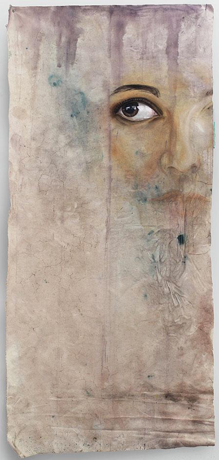 "Erica Hitzman, ""Spill 42365-26425,"" acrylic on canvas, 34"" X 71"", 2015."