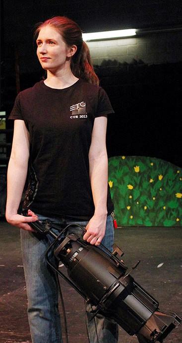 Submitted photo / Rachel Bentz holds an ETC Source 4 spotlight, one of the tools of the trade in technical theatre.