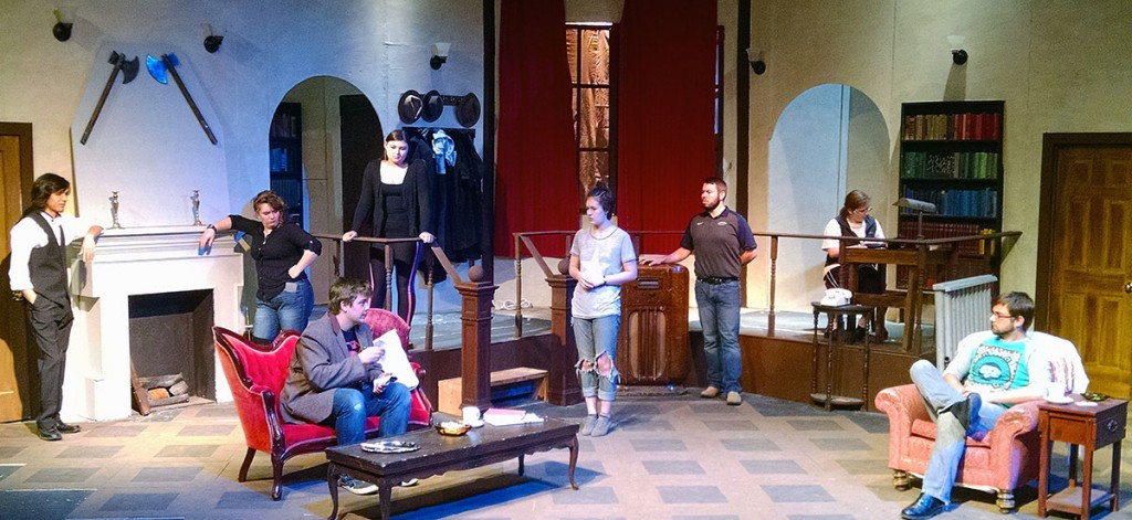 """Photo by Tabitha J. Angier / From left Marshall Baybado, McKayla Nitz, Cody Wyld Flower, Danielle Devall, Sydney Bell, Le Bailey, Victoria Ingram and Robert Wilson rehearse for """"The Mousetrap."""" The Agatha Christie mystery plays out in Schwarz Theatre June 2-4."""