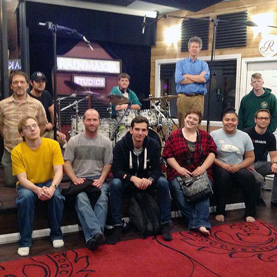 EOU music students at Rainmaker Studios