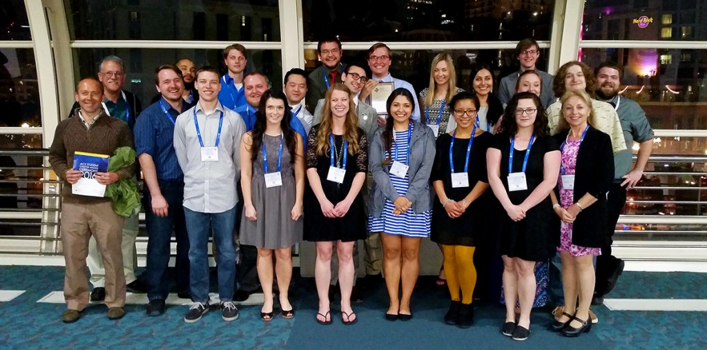 Submitted photo / Students and faculty involved with EOU's Chemistry Club at the American Chemical Society National Meeting and Exposition in San Diego this spring where the club was presented with a top award for outreach activities.