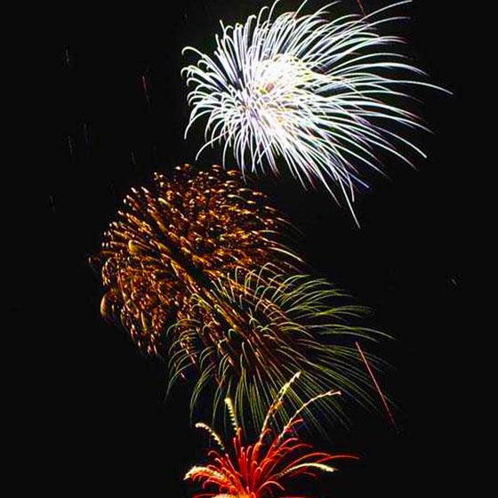 Fireworks show begins at twilight Monday, July 4.