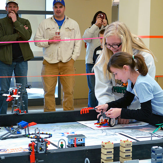 EOU file photo / The robot challenge portion of the annual tournament takes place in the atrium of Badgley Hall. Spectators are welcome on Saturday.