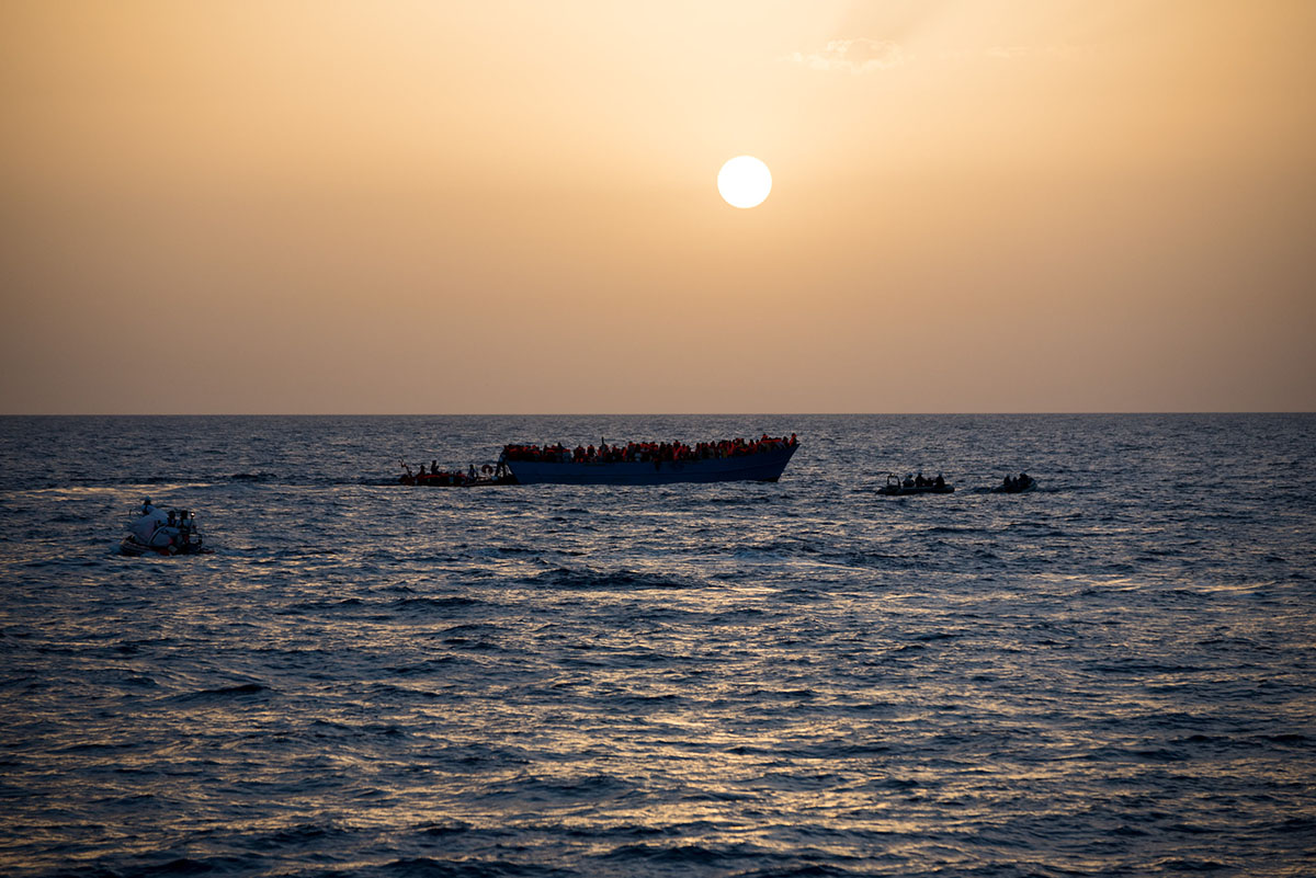 Submitted photo / A wooden boat off the coast of Libya with over 700 refugees evacuated during the course of a day where Fitzgerald was filming recently.