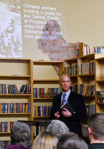 EOU file photo / Dearinger giving a talk on his work at Looking Glass Books in La Grande last spring.
