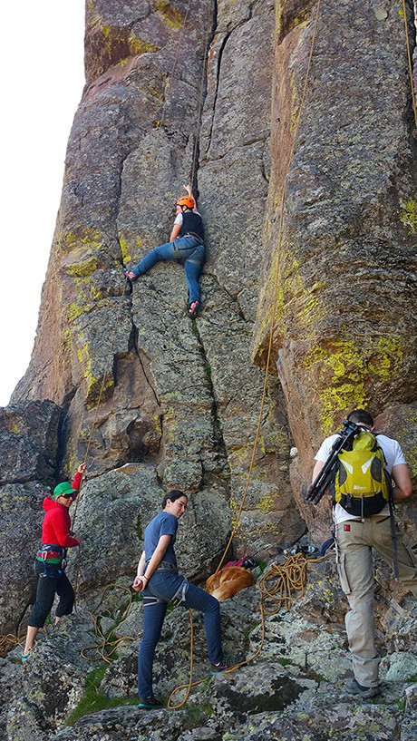 Submitted photo / Kelly Rice, left, rock climbing with students at High Valley. Snowshoeing, hiking, biking, climbing and backpacking are just a few of the activities organized through GO – ASAP to help area youth get outside and be active.