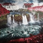 """Best of Show 12th Grade: Jenna Monson (Union High School) for her painting """"Eden's Waterfalls."""""""