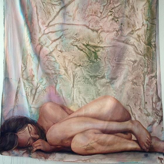 "Erica Hitzman, ""Attempt 1,"" acrylic on canvas, 6'x4', 2017."