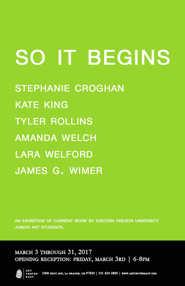 """See """"So It Begins"""" at Art Center East March 3-31."""
