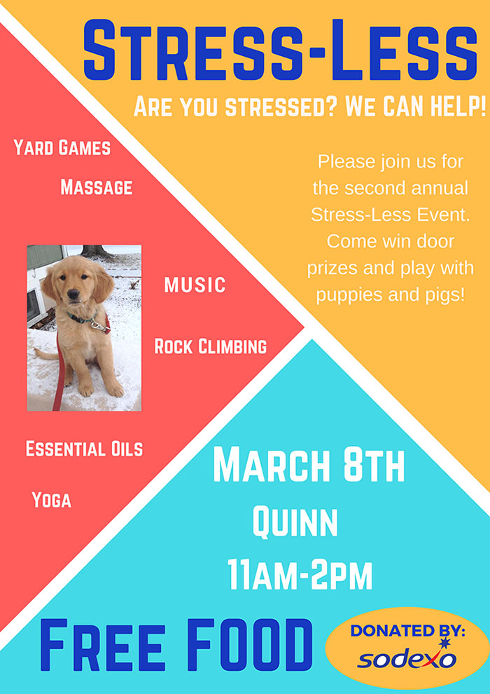 "Decompress at EOU's ""Stress-Less"" event March 8."
