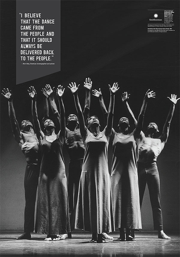 """Revelations,"" Alvin Ailey American Dance Theater, 1961. Photography by Jack Mitchell. Copyright Alving Ailey Dance Foundation Inc. and Smithsonian Institution."