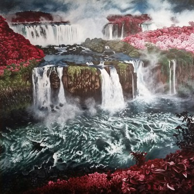 "Jenna Monson Best of Show-12th Grade at the 2017 exhibit. ""Eden's Waterfalls""  Acrylic painting.  Union High School"