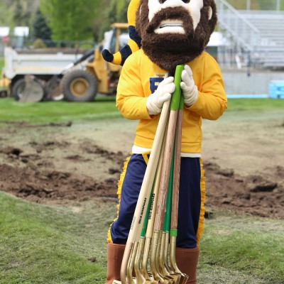 Monty Mountaineer at Stadium-Track ground-breaking
